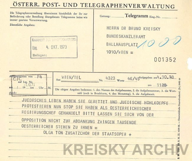Telegramme an Bruno Kreisky Geiselnahme in Marchegg.